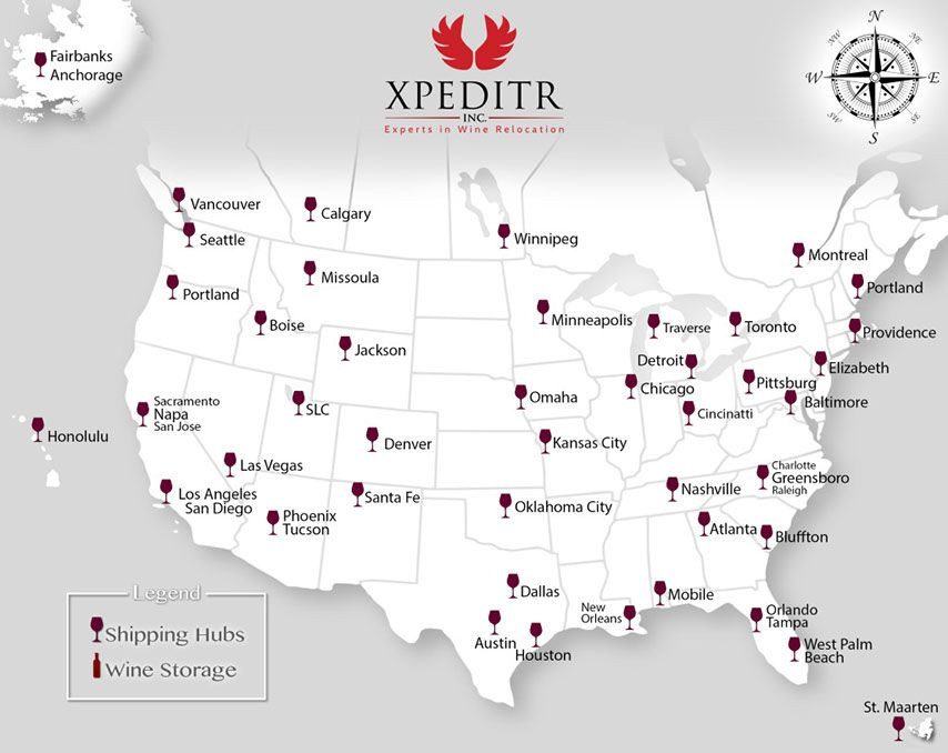 wine shipping hubs canada and usa