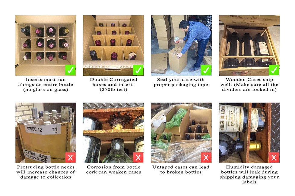 Examples of boxes used for wine storage service